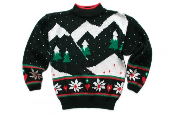 """Christmas Sweater"" by TheUglySweaterShop.com - Flickr: Vintage 80s Mountain Range Tacky Acrylic Ugly Christmas Sweater - CC BY 2.0 via Wikimedia Commons - http://commons.wikimedia.org/wiki/File:Christmas_Sweater.jpg#mediaviewer/File:Christmas_Sweater.jpg"
